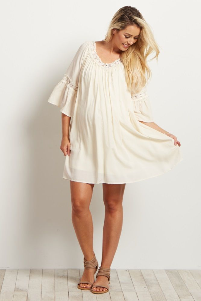 c9143c350ea Create the ultimate boho-chic look this summer with this delicate crochet  detailed maternity dress tunic. Style with your gladiator sandals for an ...