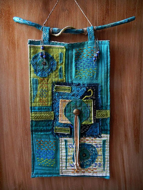 Fiber Art Wall Hanging Mixed Media Collage Fabric Textile Wall Art