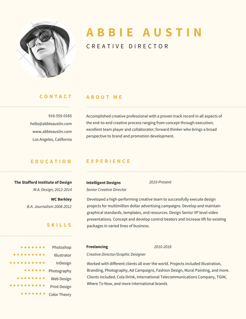resume Resume Accent abbie austin creative director contact about me 916 555 0165 hello emphasize career highlights on your resume by using color strategically free templates learn