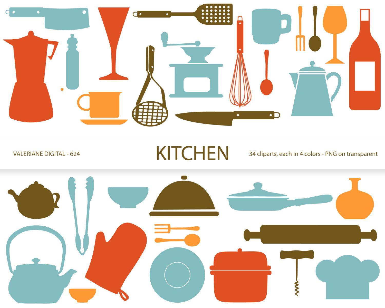 Kitchen clipart\'s, retro kitchen utensils, scrapbook supplies ...