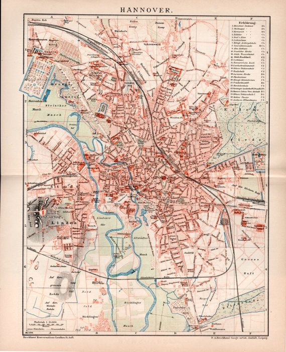 1898 Hannover Germany Antique Map Vintage Lithograph Hanover Old