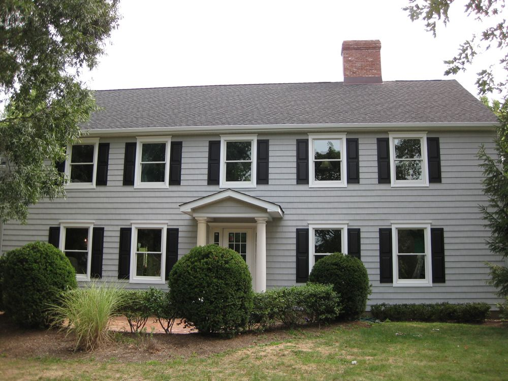 Gray With Espresso Shutters House Paint Ideas