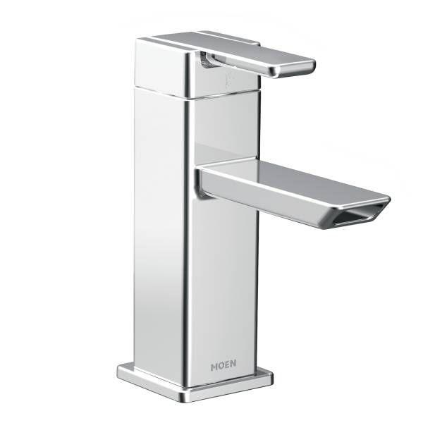 90 Degree Chrome One Handle Low Arc Bathroom Faucet With Images