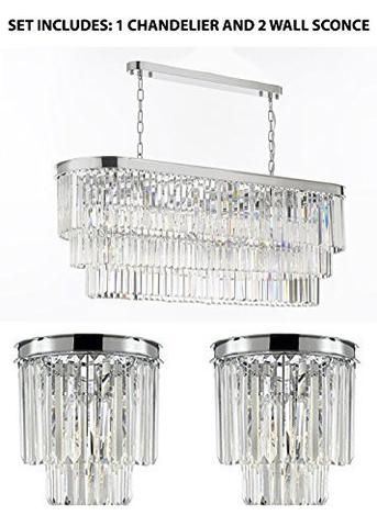 Set Of 3 1 Retro Odeon Glass Fringe Rectangular Chandelier Chandeliers Lighting Chrome Finish And 2 Odeon Empress Crystal (Tm) Glass Fringe 2-Tier Wall ...  sc 1 st  Pinterest & Set Of 3: 1 Retro Odeon Glass Fringe Rectangular Chandelier ...