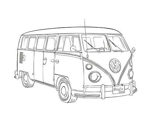 Vintage Car Coloring Pages Vw Type 2 Poster Pinterest Vw