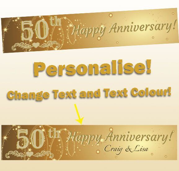 Details about 50th golden wedding anniversary canvas party banner 50th golden wedding anniversary party banner decorations supplies personalised printhall anniversary junglespirit Image collections