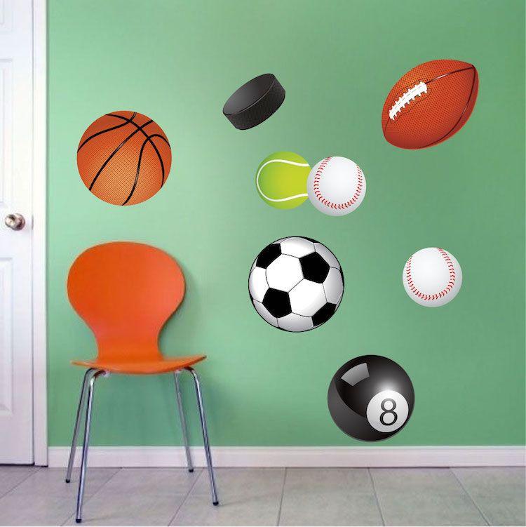 Sports Balls Wall Decal Murals Sports wall decals, Wall