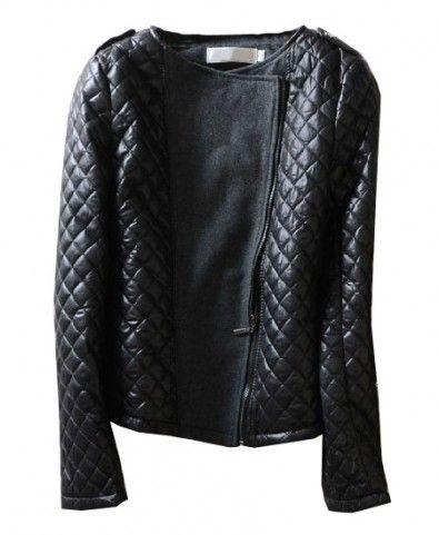 Black PU Leather Checks Coat