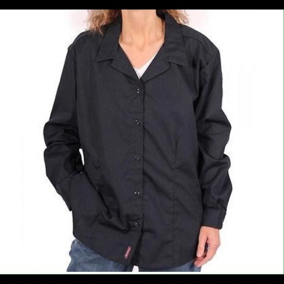 Dickies Women's Tailored Button Down Poplin Shirt The spread collar and tailored body give this shirt a fantastic feminine styling that is perfect for work; or when you are feeling a little more casual, this shirt looks terrific with your favorite pair of jeans. Designed with a longer body, stays tucked in. The back yoke and off shoulder styling allows a comfortable fit. The 65% polyester and 35% cotton fabric make wick moisture from your skin, keeping you cool and comfortable.   Size L…