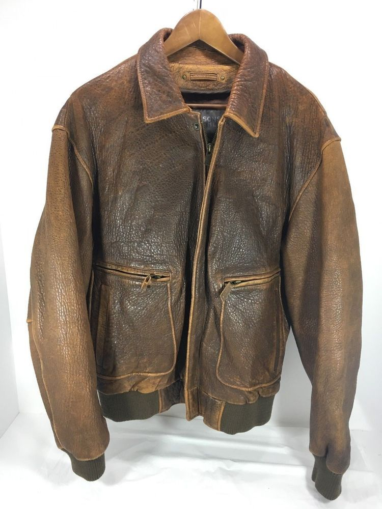 Men's Wilson's Leather Bomber Coat Brown Bullhide leather