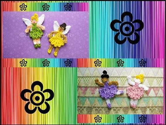 Ballerina and Fairy Applique  CROCHET PATTERN PDF by EverLaughter