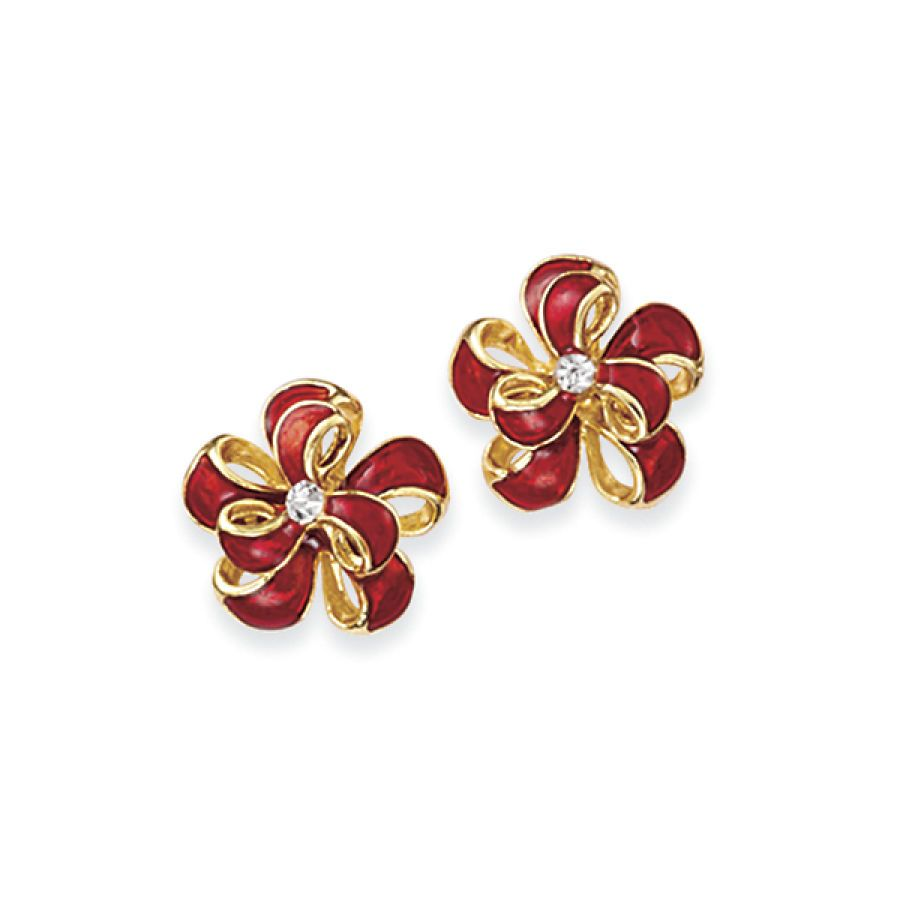 Enameled Goldplate and Crystal Bow Post Earrings - Fashion Jewelry, Sterling, Gemstones, Pearls, Earrings, Necklaces, Rings & Bracelets