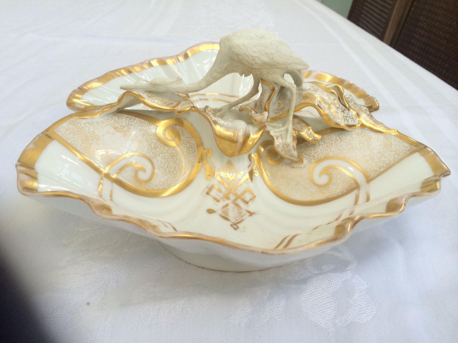 Antique Carl Tielsch Altwasser Germany Divided Serving Dish w Heron   eBay  $425