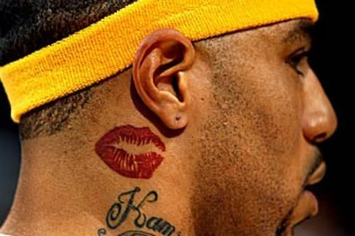 Kenyon Martin Tattooed Trina S Lips On His Neck K Mart Had