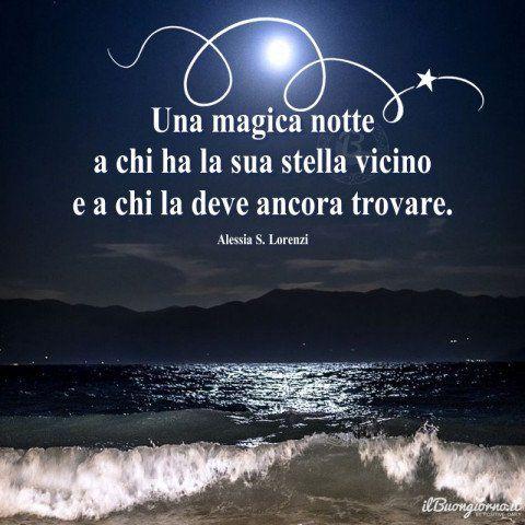 Paesaggio Marino Notturno Con Frase Della Buonanotte Romantica
