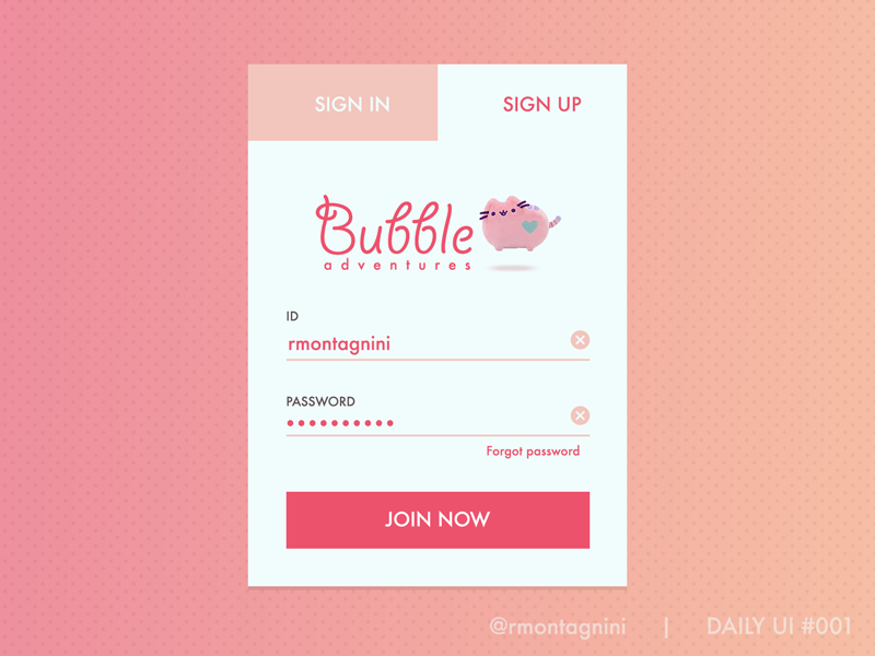 Sign up form for Daily UI 001