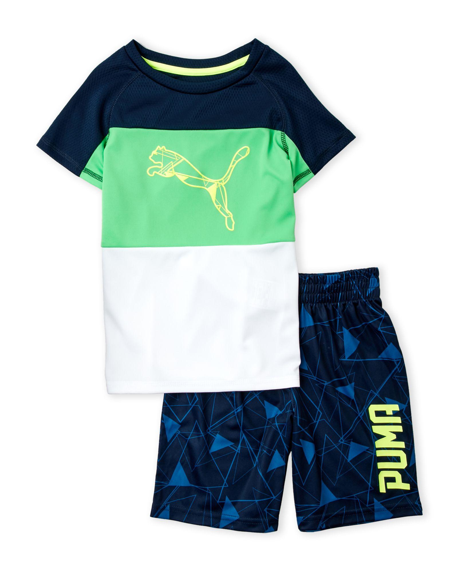 Puma Boys 4 7 2 Piece Color Block Tee & Shorts Set