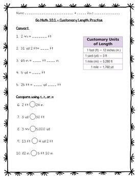 Go Math Practice - 5th Grade 10.1 - Customary Length | Go ...