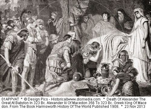 Death Of Alexander The Great At Babylon In 323 Bc. Alexander Iii Of Macedon 356 To 323 Bc. Greek King Of Macedon. From The Book Harmsworth History Of The World Published 1908.