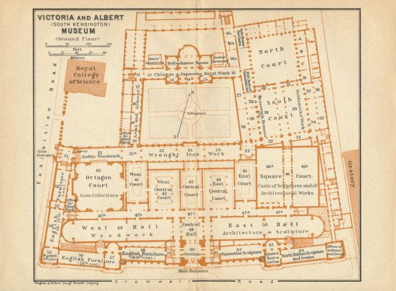 1930 Antique map of Victoria and Albert Museum, London, England ...