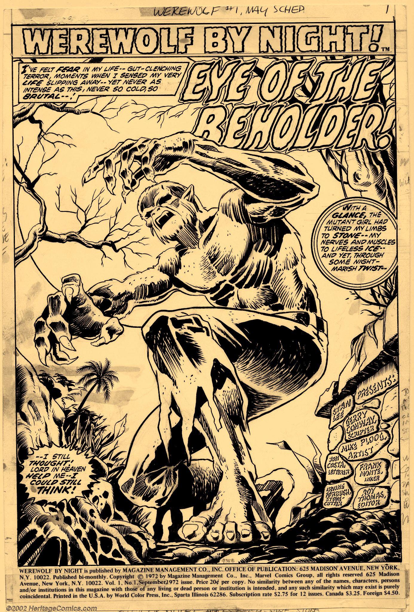 Werewolf By Night #1 Splash Page by Mike Ploog