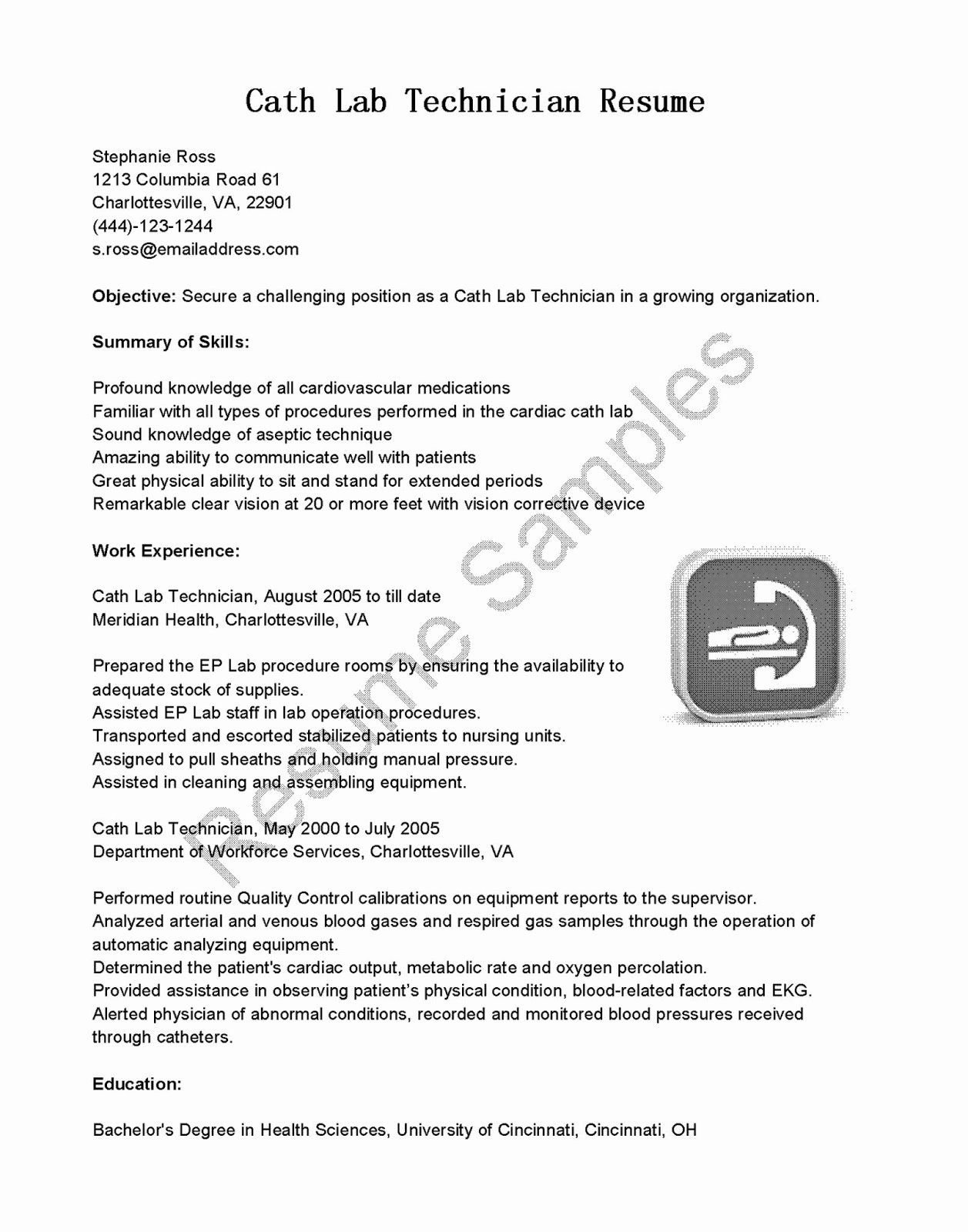 Lab Technician Resume Examples Luxury Resume Samples Cath