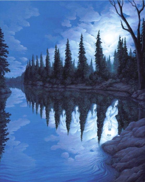 Призрачные девы озера. Rob Gonsalves.Сюрреалисты -художники  играют с оптическими иллюзиями.
