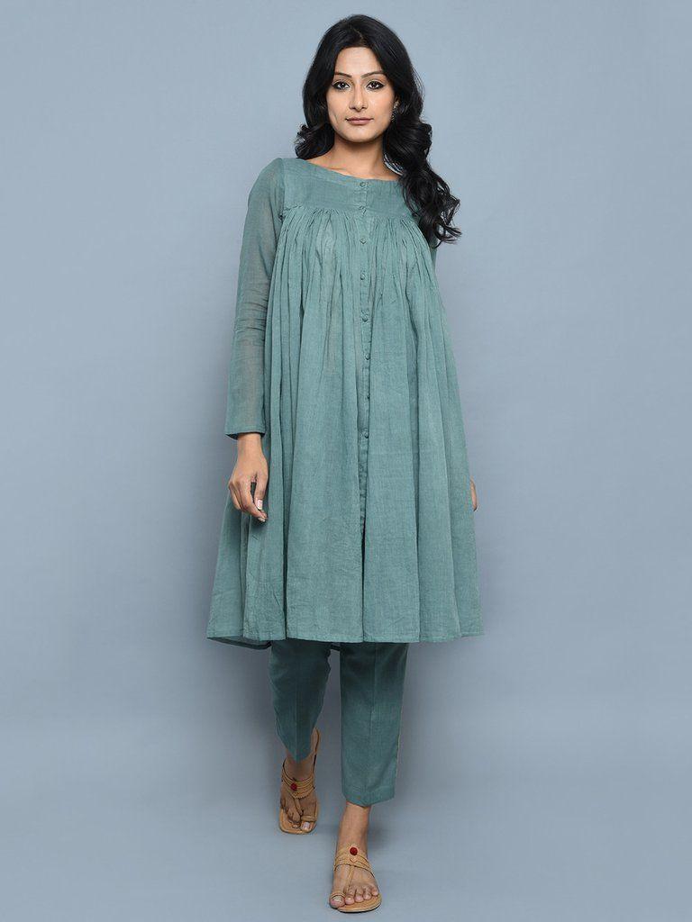 Teal Green Cotton Kedia Style Kurta with Pants - Set of 2 | Clothing ...