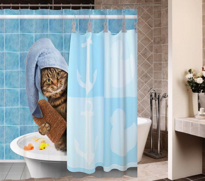 Animals Funny Kitten Cat Bathing Decor Shower Curtain Polyester Fabric Mildew Proof Waterproof Cloth Room Curtains 66x72 Inches Home
