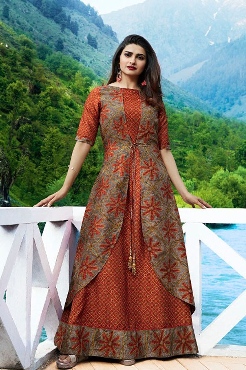 daec35e51 Orange-Fancy-Festival-Wear-Silk-Long-Length-Printed-Kurti-With-Koti ...