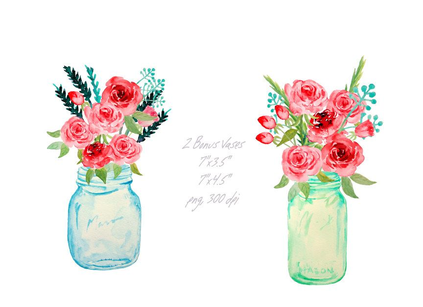 Wedding Clipart Hand Painted Watercolor Mason Jars And Red Roses