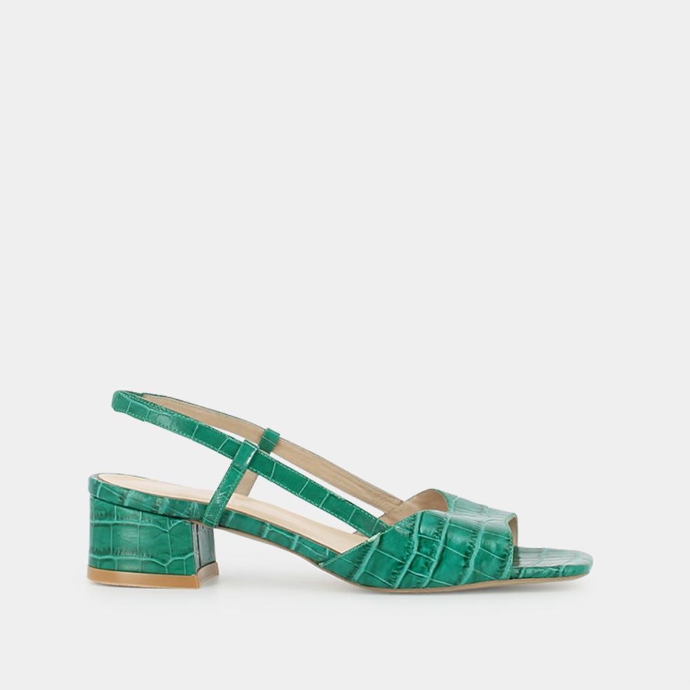 Sandales à petit talon carré Jonak en croco vert en 2020