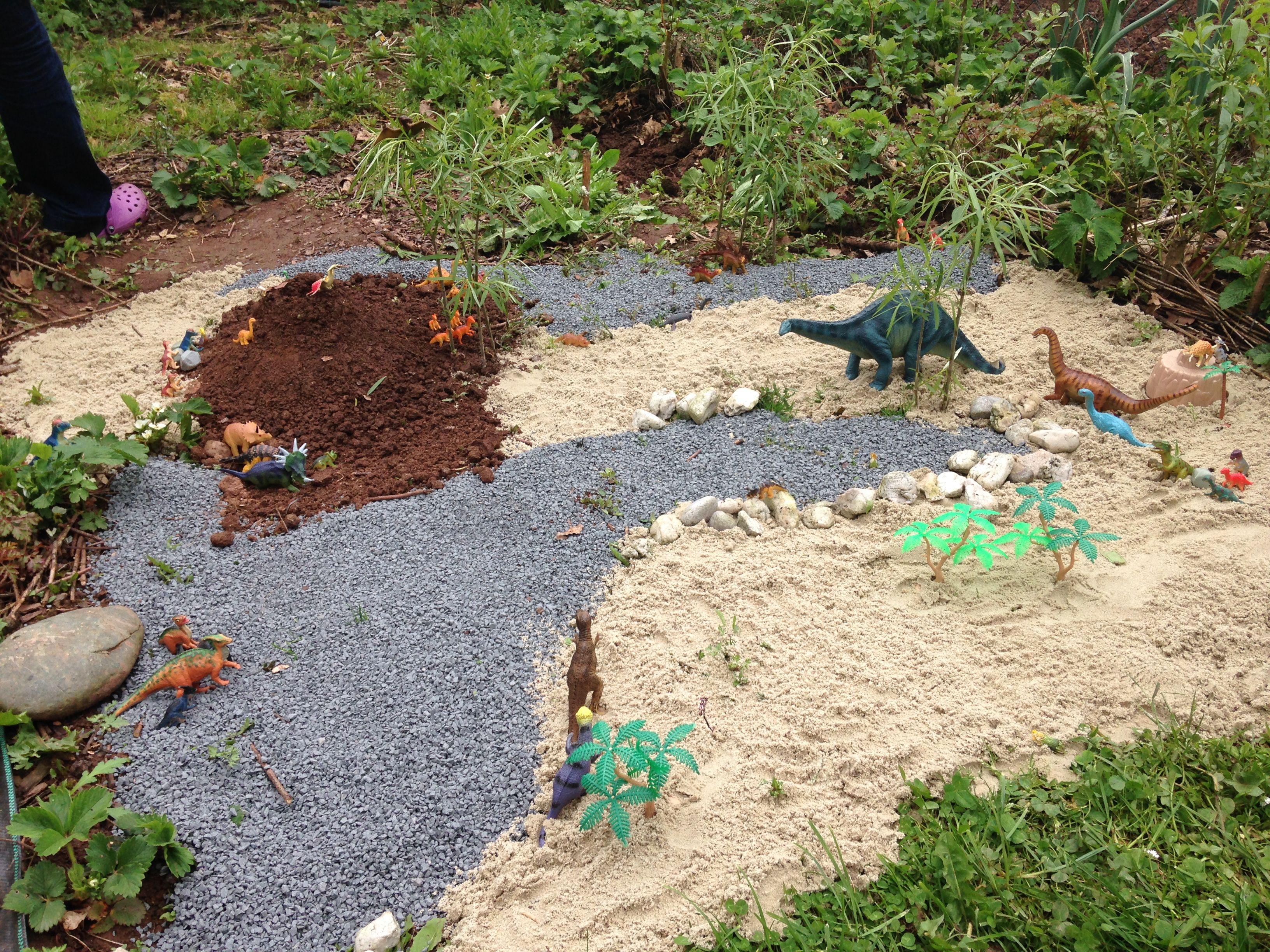Dinolandschaft Im Garten Zum Spielen Sand Und Kies Aus Dem Baumarkt Plastikdinosaurier Ein Paar Steine Und Pflanzen Garten Kinderbasteleien Pflanzen