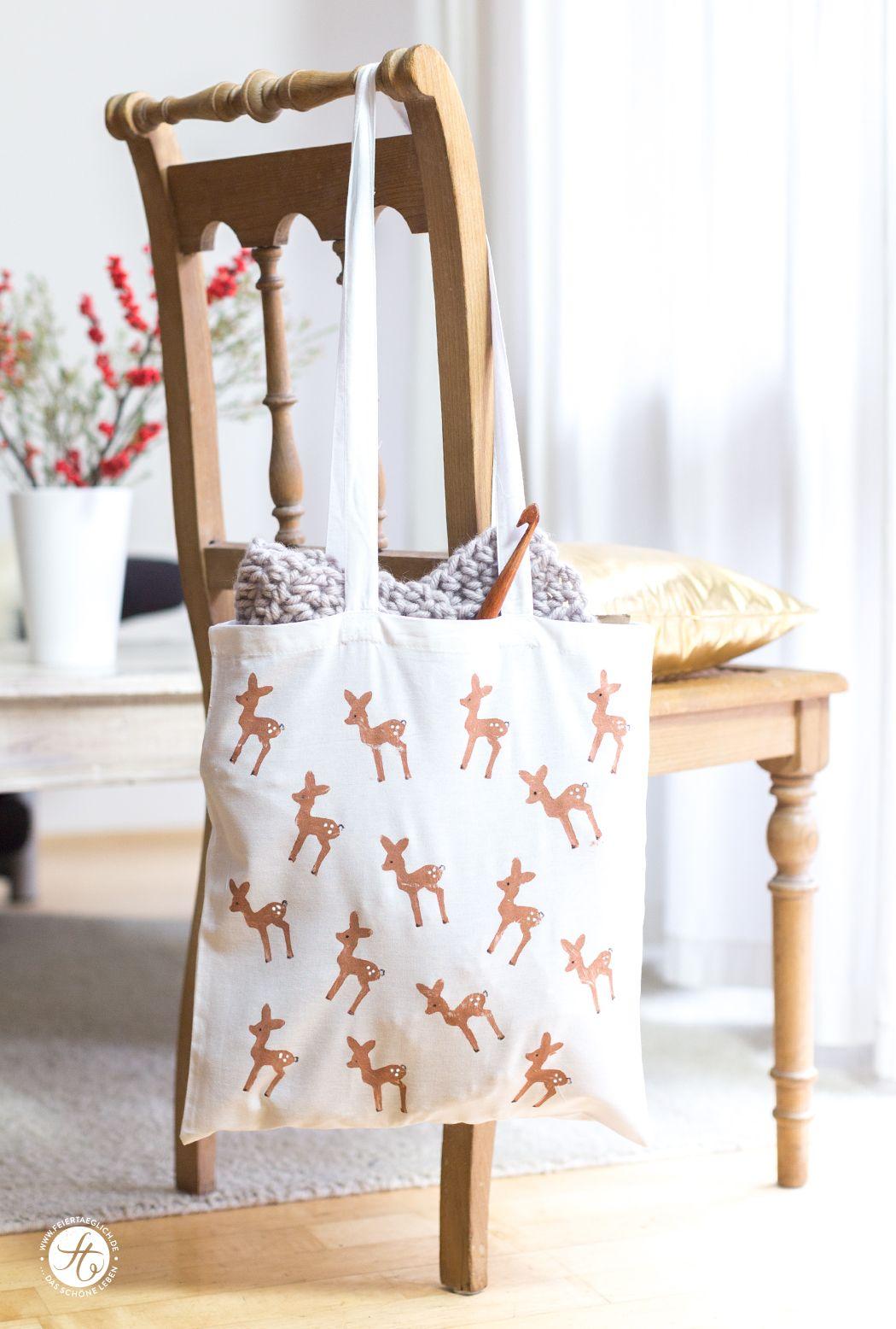 diy bambi beutel mit kartoffeldruck schnelle geschenke selbstgemacht pinterest. Black Bedroom Furniture Sets. Home Design Ideas