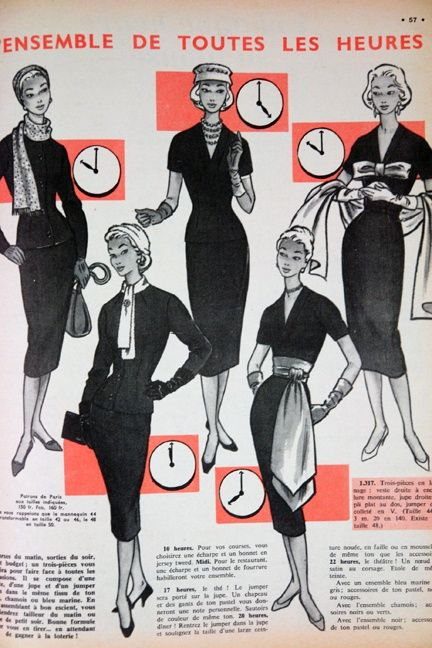 Fashion article from 'L'Echo de la Mode' magazine, 1950s.
