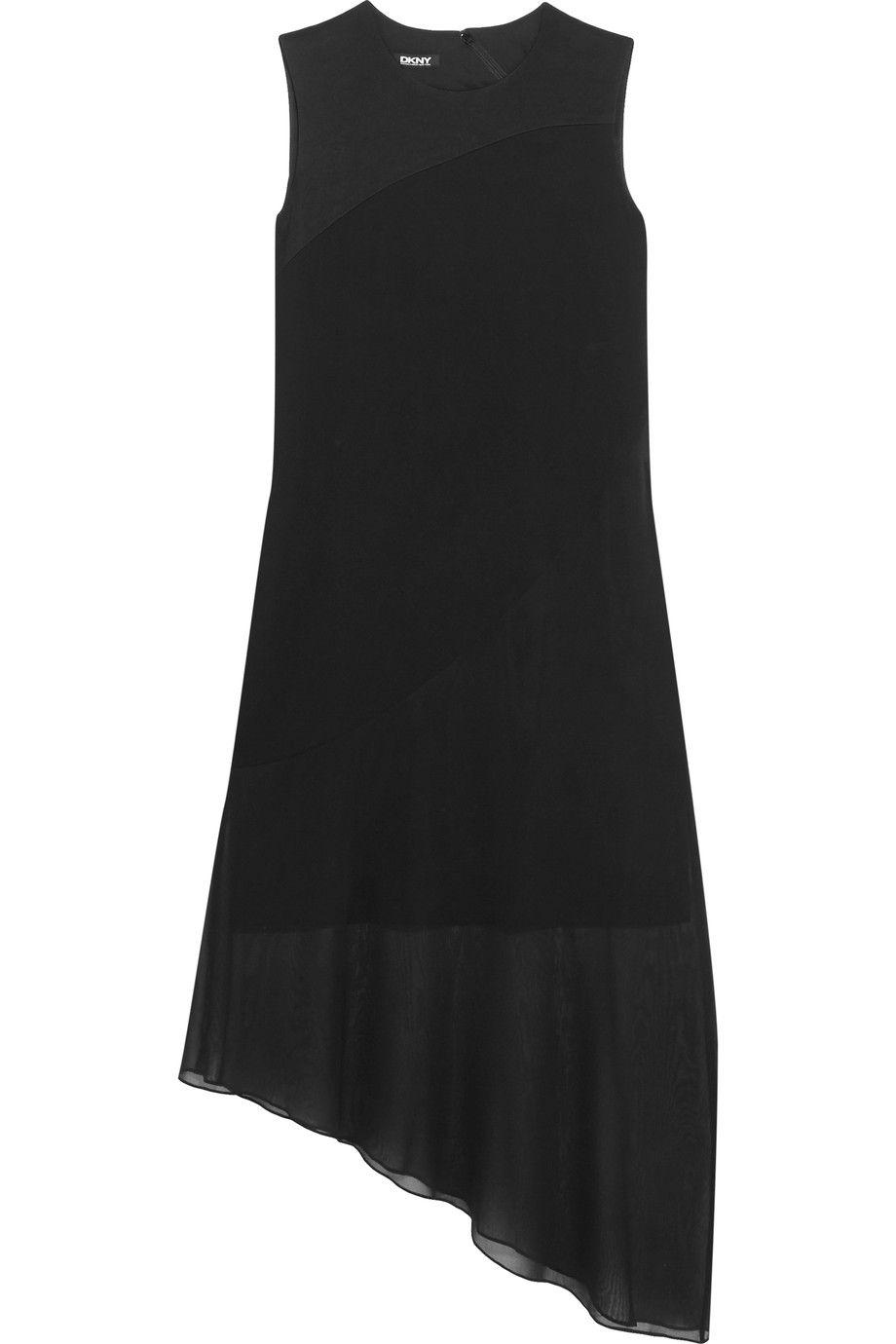 DKNY Asymmetric silk blend-georgette and crepe dress.