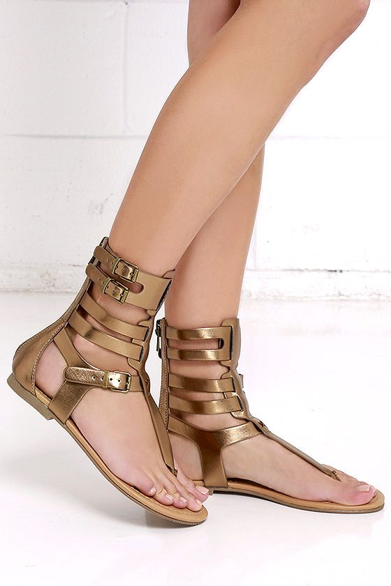 0a2af1ed4904 Make plans to wander and explore in your new Roman Holiday Light Bronze Gladiator  Sandals! These fun-ready sandals have a toe-thong upper