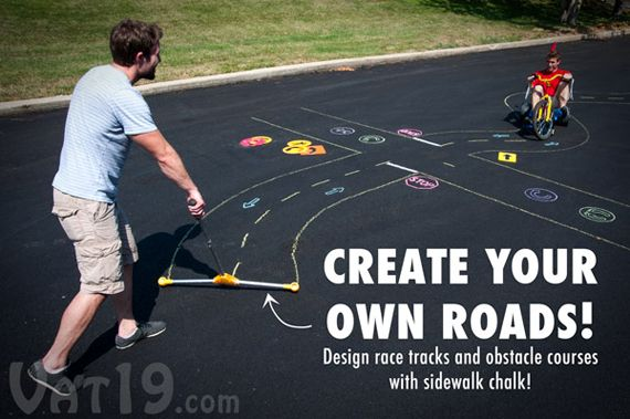 Chalk City Road Maker....I used to make roads with chalk when I was younger but had to do it by hand...what the heck this could have been helpful.