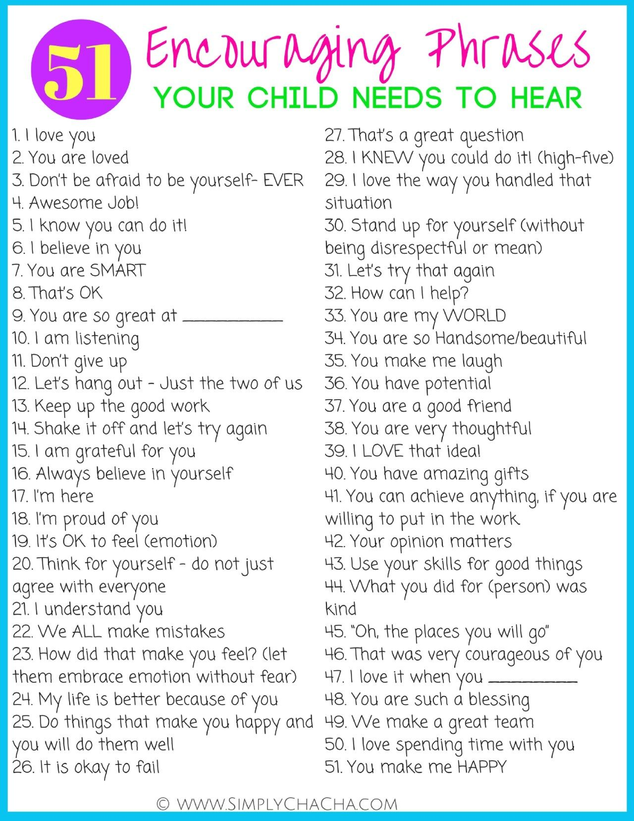 51 Encouraging Phrases Your Child Needs