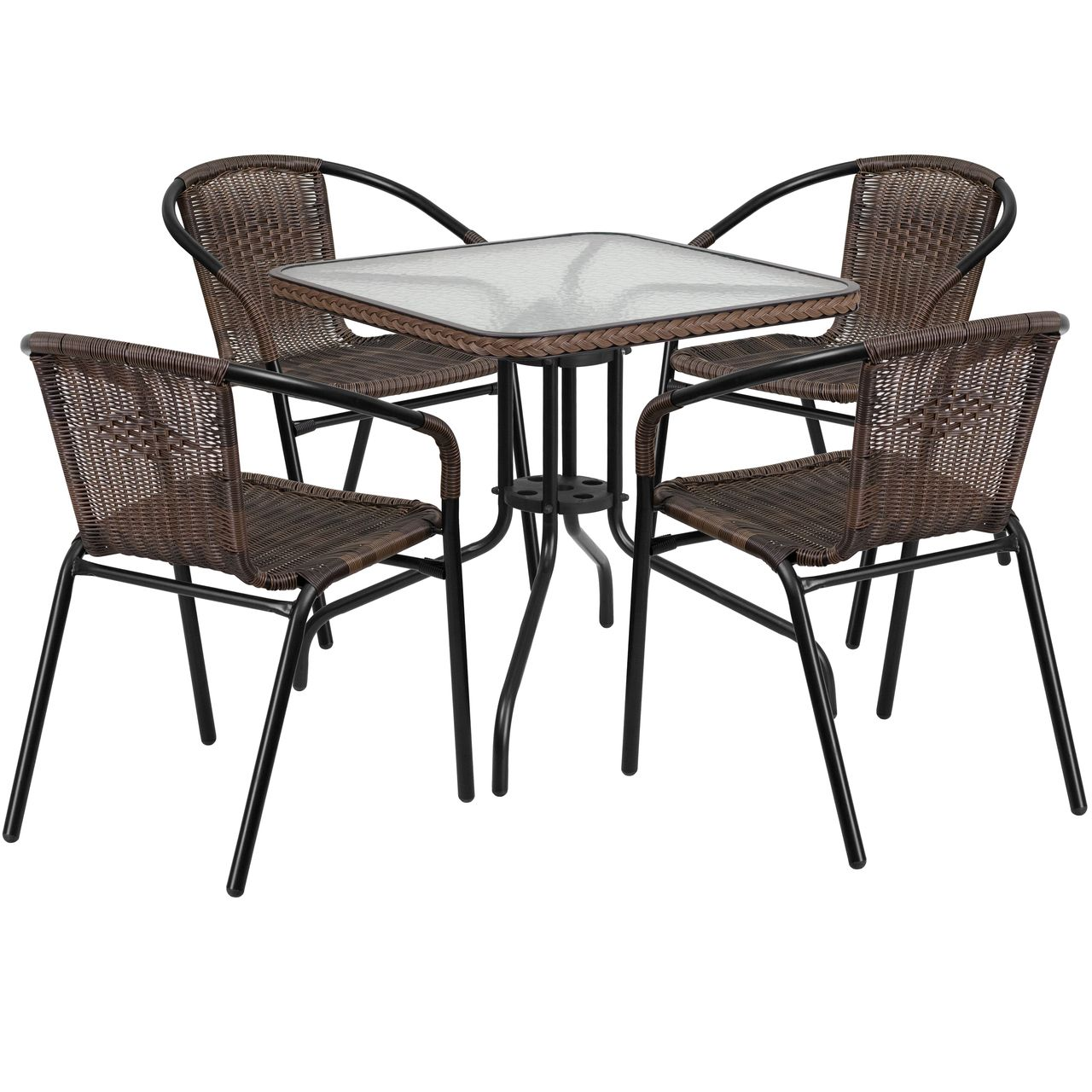 buy 28 square glass metal table with dark brown rattan edging and rh pinterest com