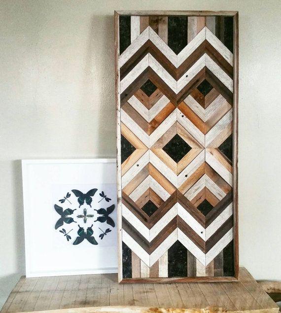 Geométrica arte de pared de madera reclamado con acentos de