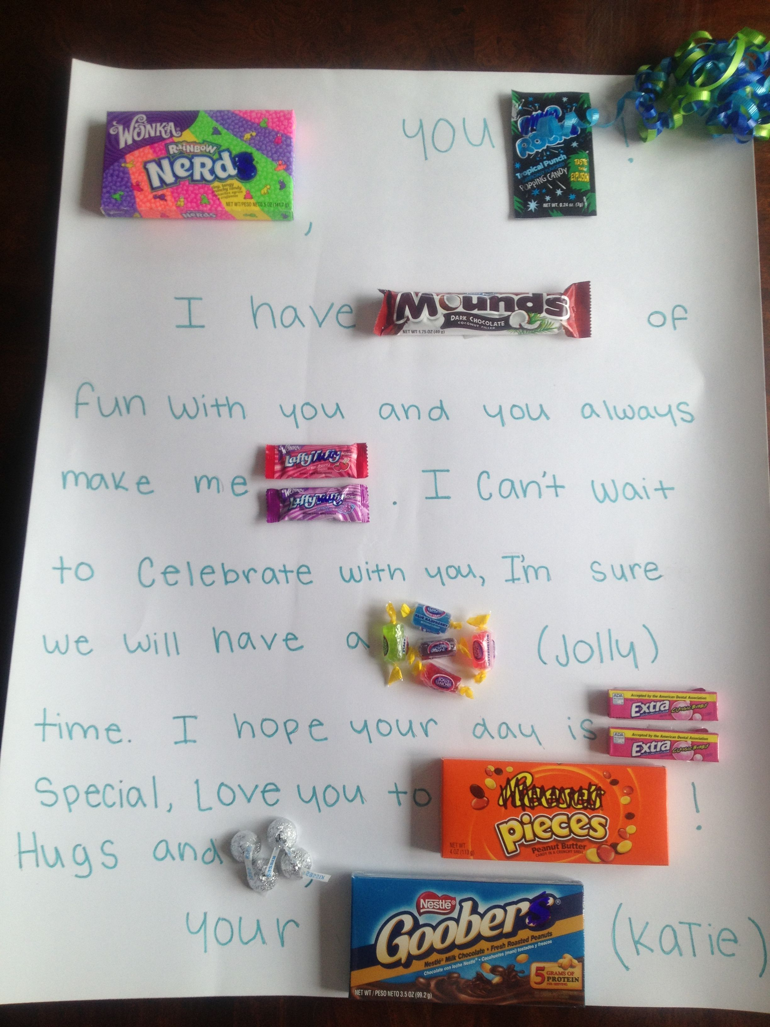 Candy card for my best friend Best friend valentines