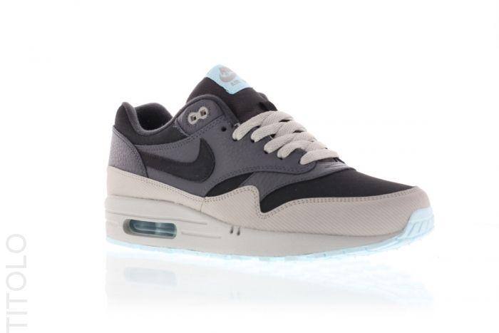 Nike Air Max 1 Leather – Dark Ash Grey – Light Blue
