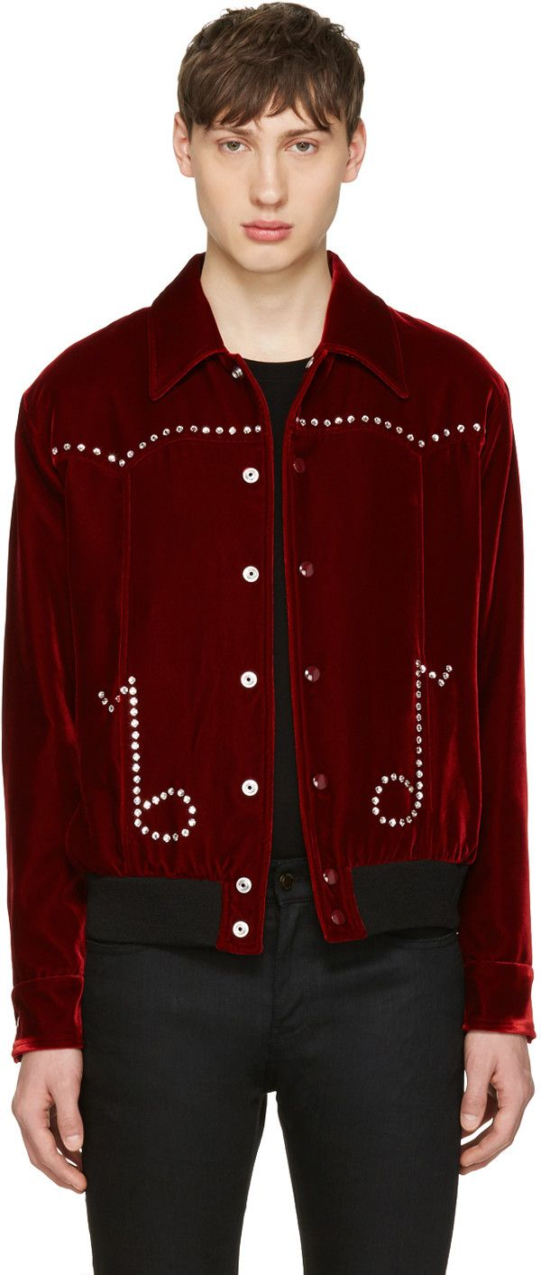 410dde5e3 SAINT LAURENT Red Velvet Western Teddy Jacket. #saintlaurent #cloth ...