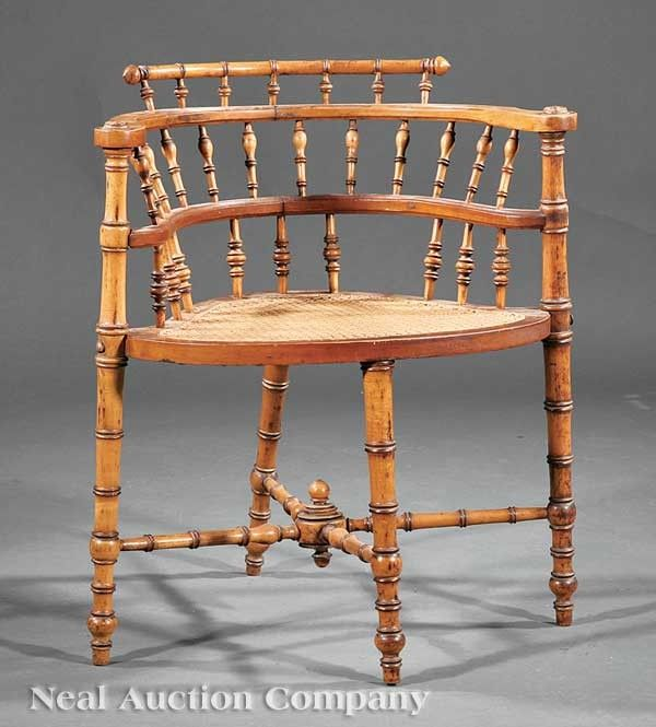 Bamboo Turned Chair: 0242: American Aesthetic Faux Bamboo Maple Corner Chair On