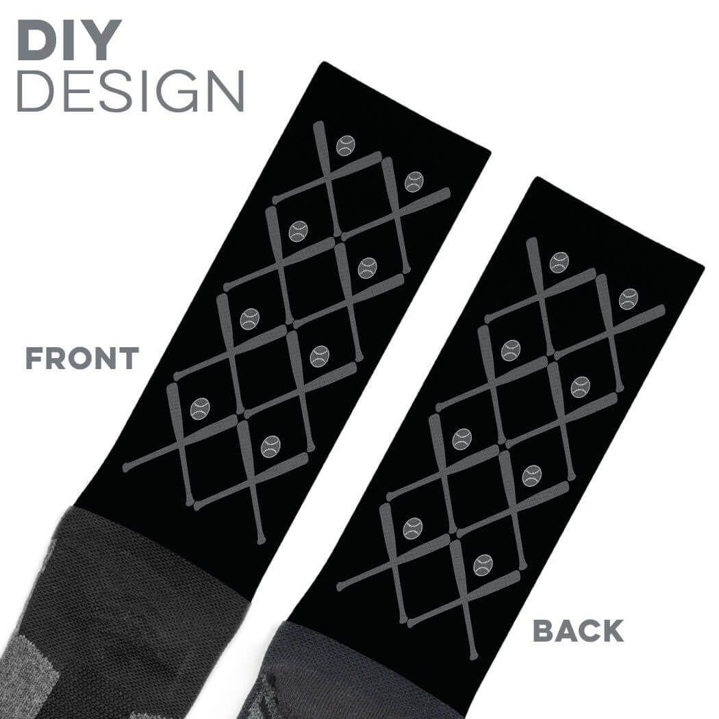 194170aebf8 Baseball Crew Length Socks - Personalized Team Name And Number With Bat  Pattern