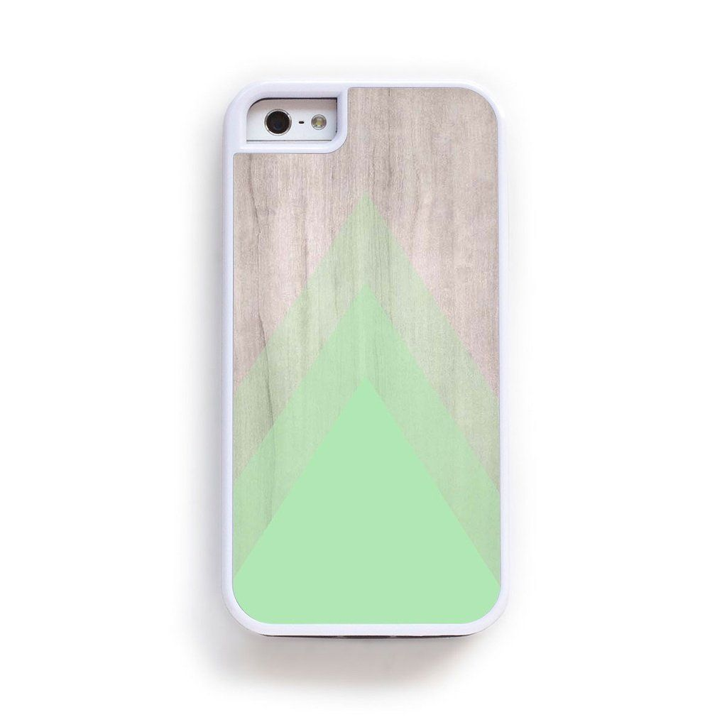 Abstract triangle green on wood print for iPhone 6