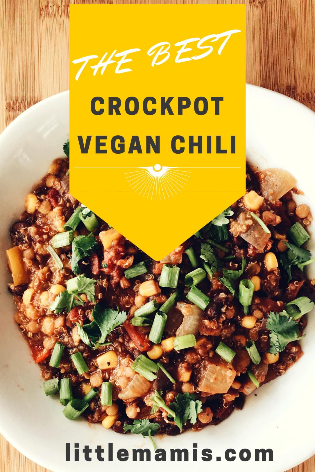 The Best Crockpot Vegan Chili So Easy
