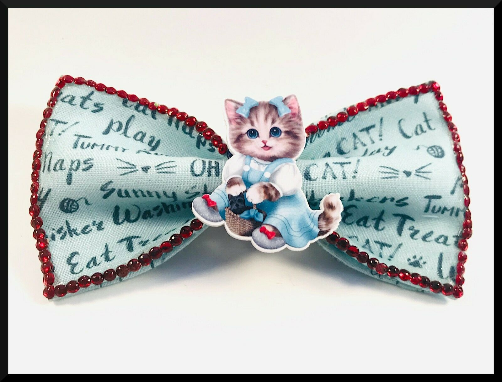 Hair Bow Handmade Cat Wizard Of Oz Dorothy Gift For Girls Birthday Present In 2020 Hair Bows Handmade Gifts For Girls