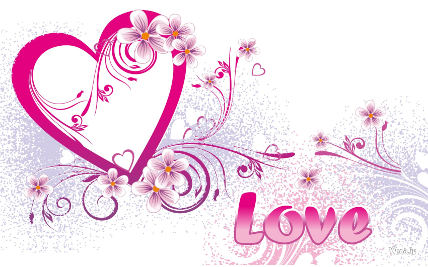 Love Heart With White Background With Pink Flowers HD Wallpapers ...